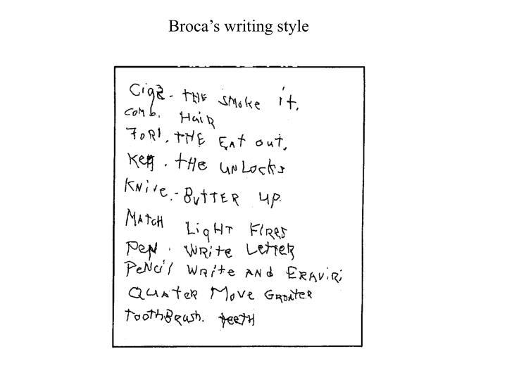 Broca's writing style