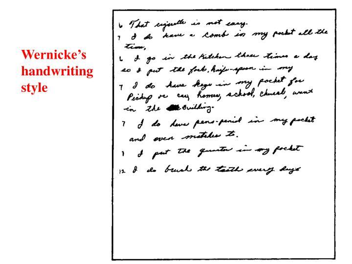 Wernicke's handwriting style
