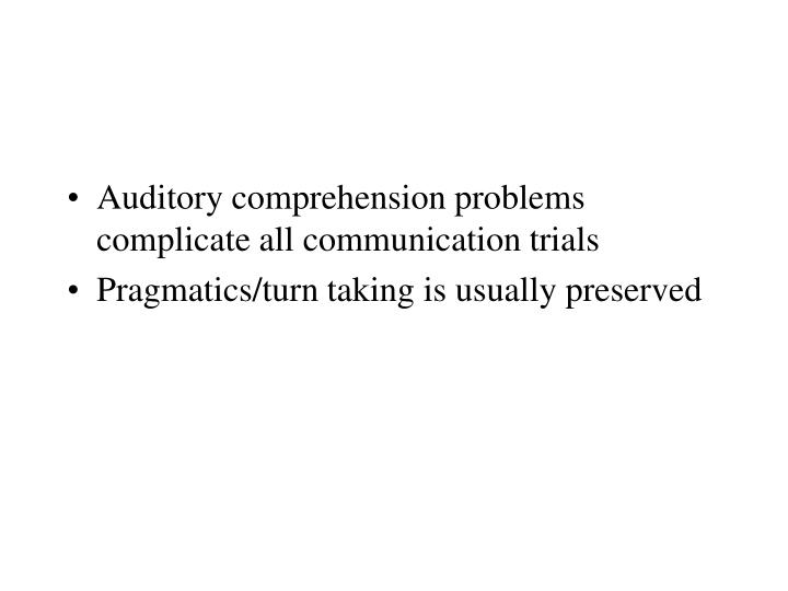 Auditory comprehension problems complicate all communication trials