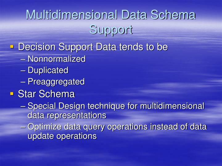 Multidimensional Data Schema Support