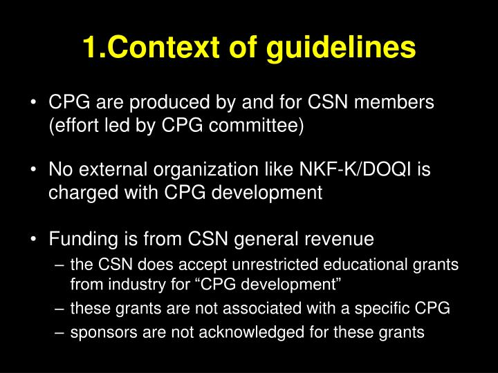1.Context of guidelines
