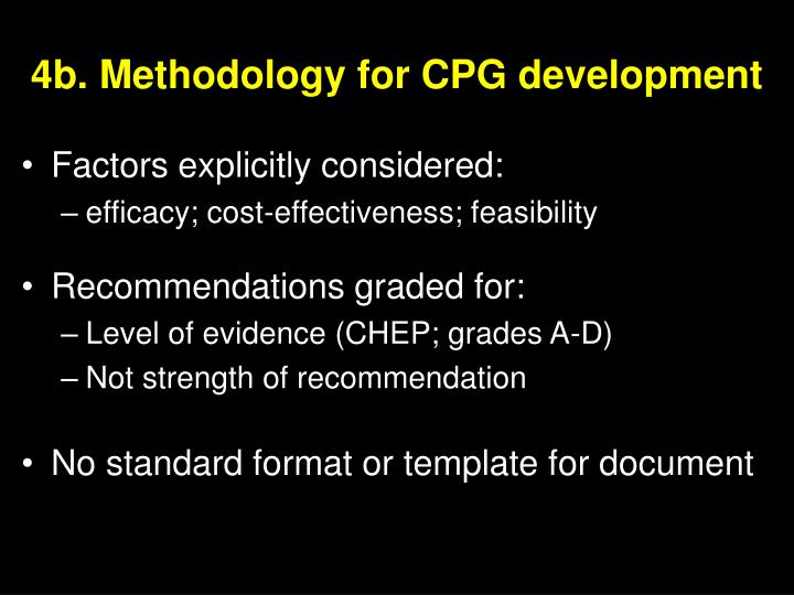 4b. Methodology for CPG development