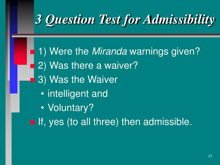 3 Question Test for Admissibility