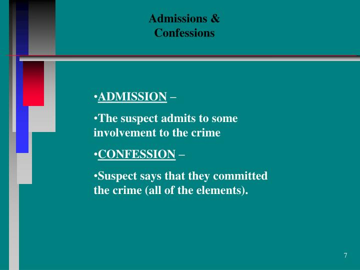 Admissions & Confessions