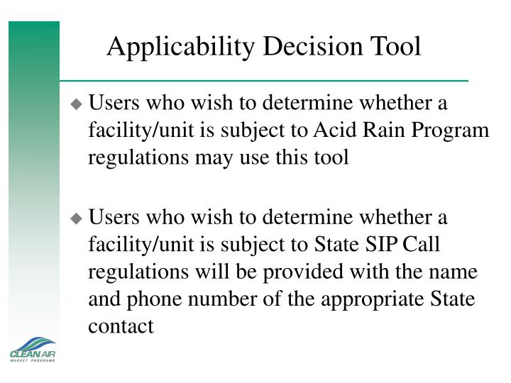 Applicability Decision Tool
