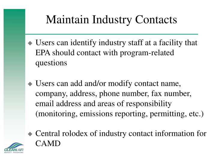 Maintain Industry Contacts