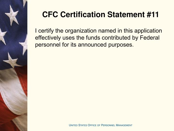 CFC Certification Statement #11