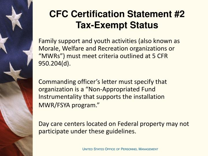 CFC Certification Statement #2