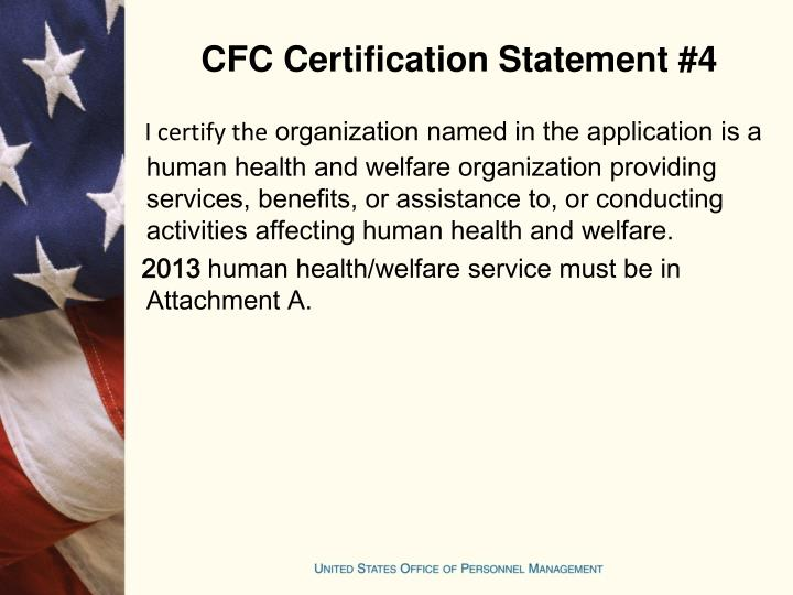 CFC Certification Statement #4