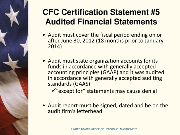 CFC Certification Statement #5