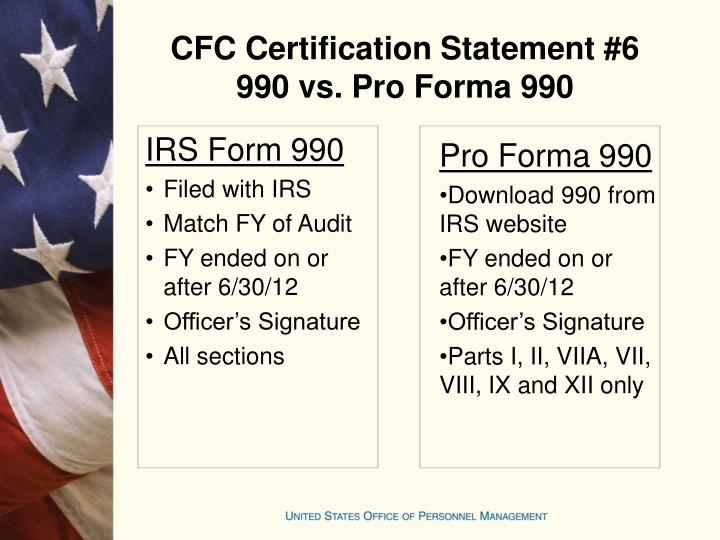 CFC Certification Statement #6