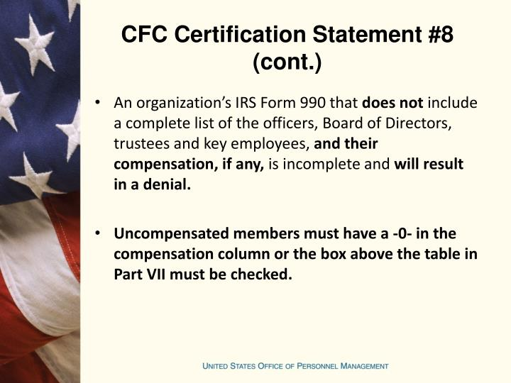 CFC Certification Statement #8 (cont.)