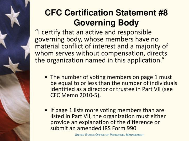 CFC Certification Statement #8