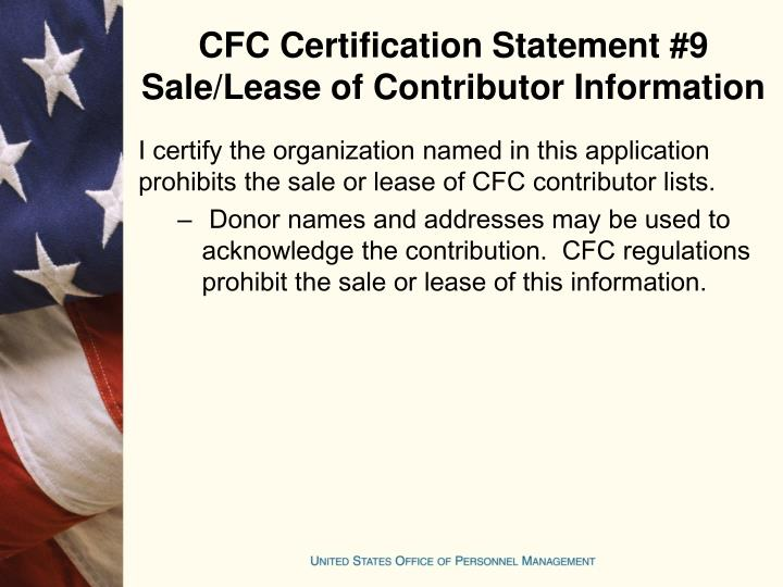 CFC Certification Statement #9