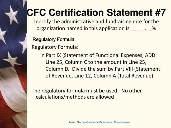 CFC Certification Statement #7