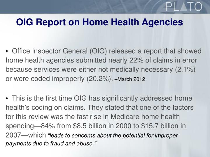 OIG Report on Home Health Agencies