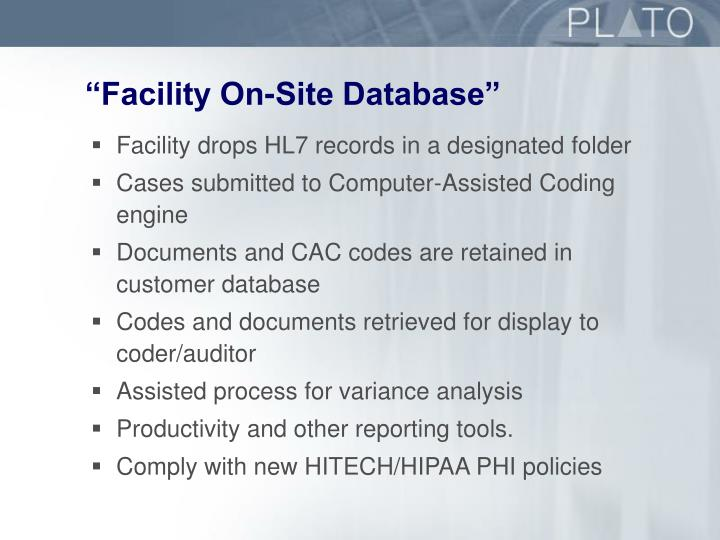 """Facility On-Site Database"""