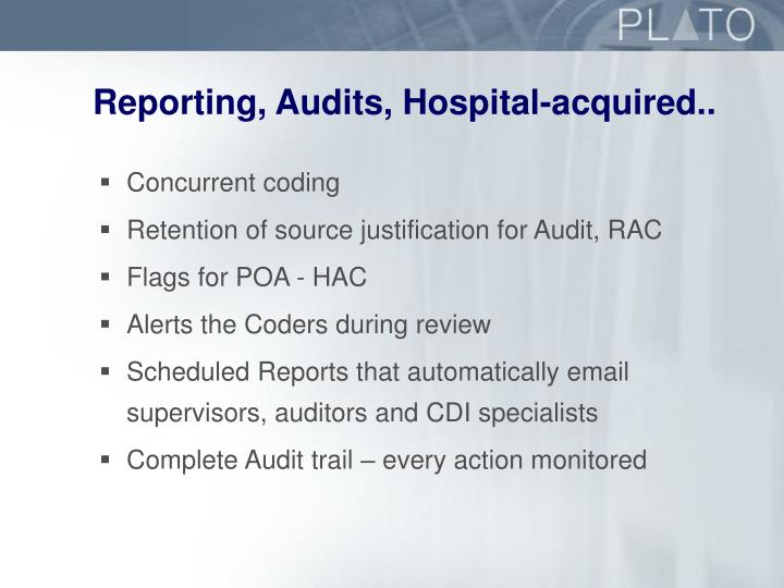 Reporting, Audits, Hospital-acquired..
