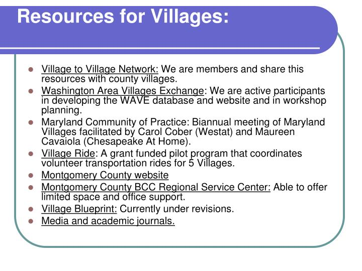 Resources for Villages:
