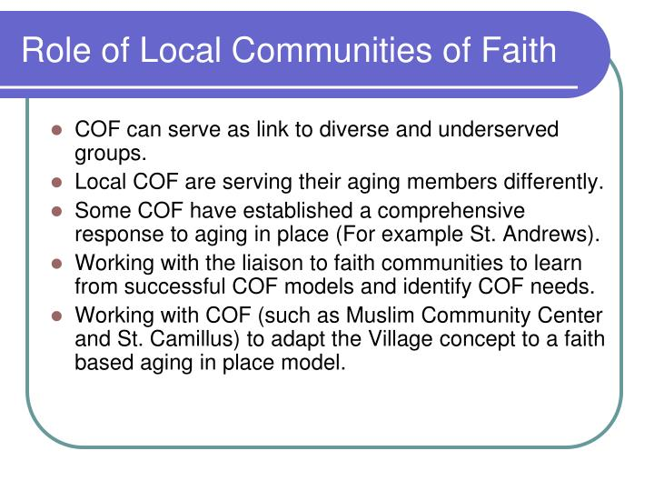 Role of Local Communities of Faith