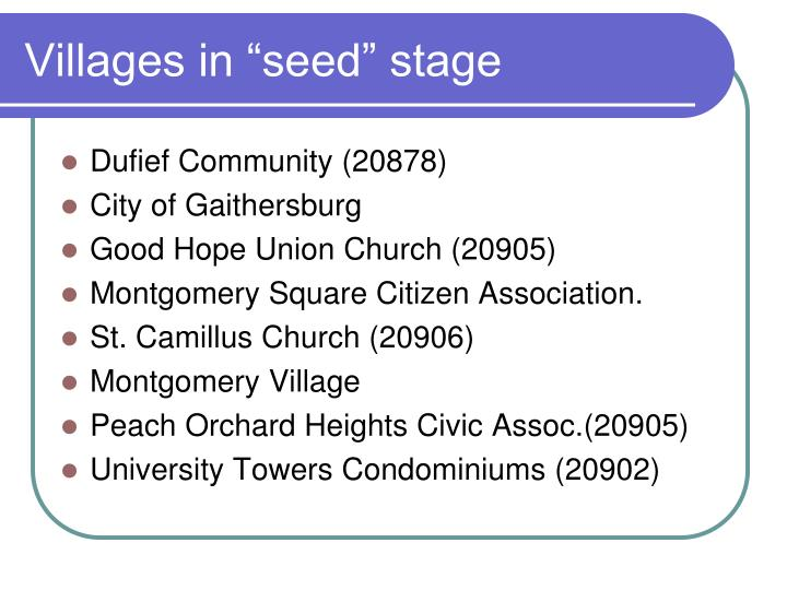 """Villages in """"seed"""" stage"""