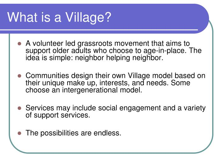 What is a Village?