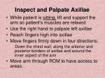 inspect and palpate axillae