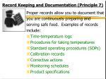 record keeping and documentation principle 7