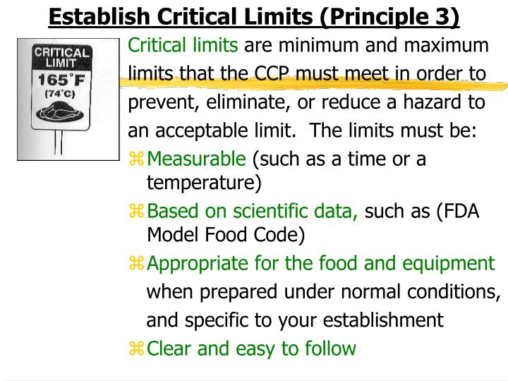 Establish Critical Limits (Principle 3)