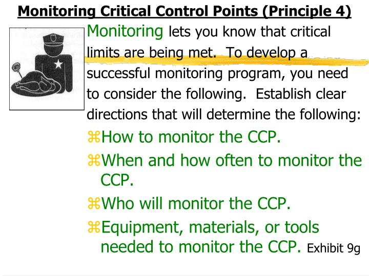 Monitoring Critical Control Points (Principle 4)