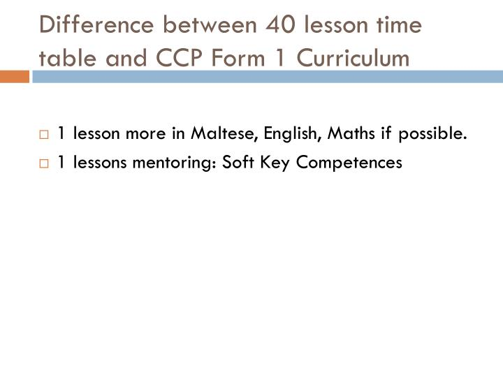Difference between 40 lesson time table and CCP Form 1 Curriculum