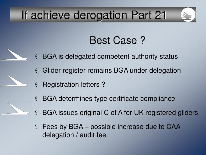 If achieve derogation Part 21