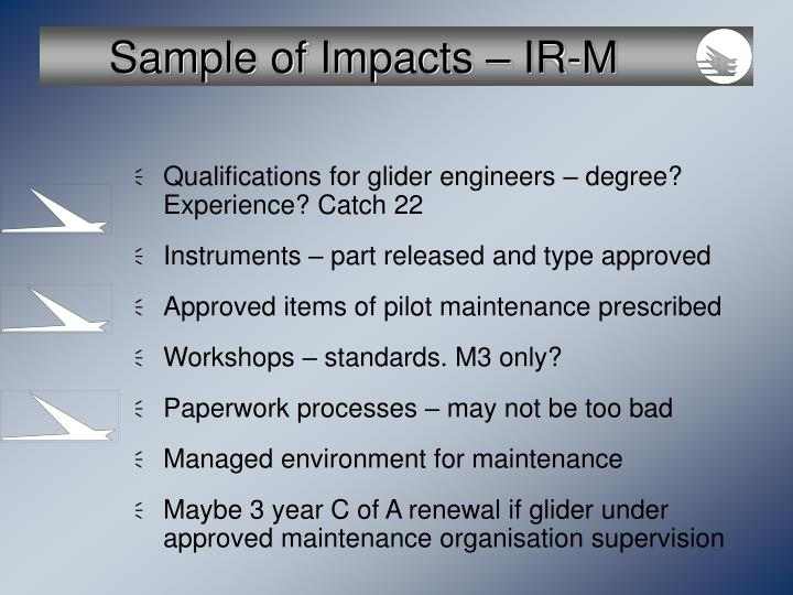 Sample of Impacts – IR-M