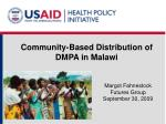 community based distribution of dmpa in malawi