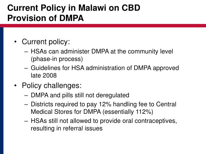Current Policy in Malawi on CBD
