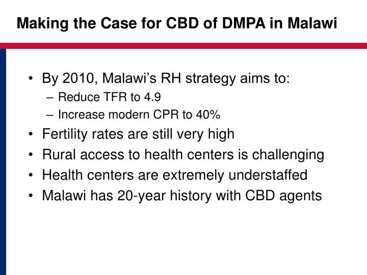 Making the Case for CBD of DMPA in Malawi