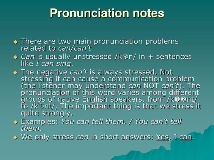 Pronunciation notes