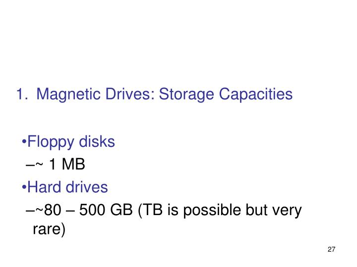 Magnetic Drives: Storage Capacities