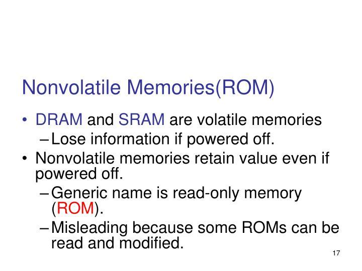 Nonvolatile Memories(ROM)