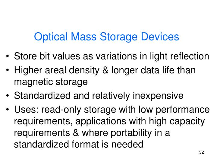 Optical Mass Storage Devices