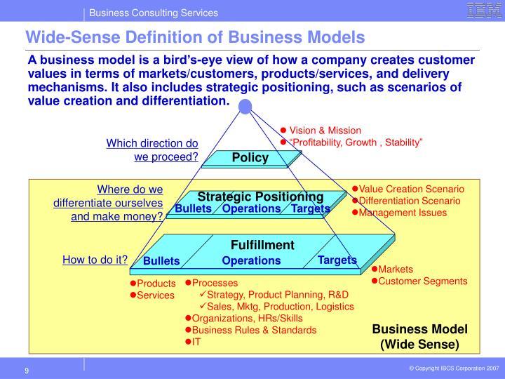 Wide-Sense Definition of Business Models