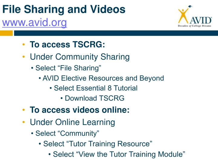 File sharing and videos www avid org