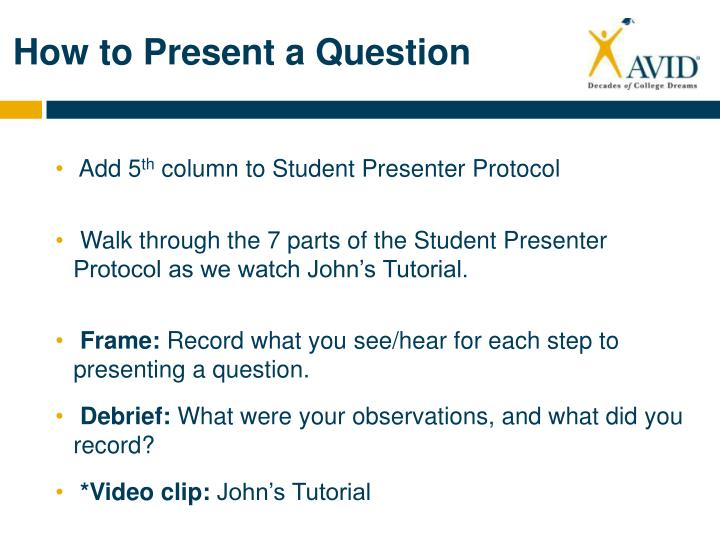 How to Present a Question