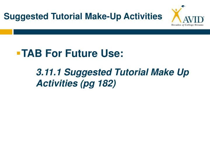 Suggested Tutorial Make-Up Activities