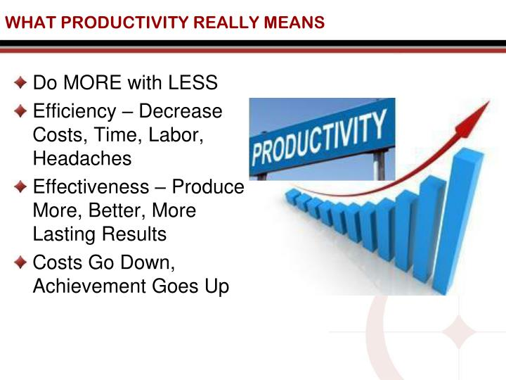WHAT PRODUCTIVITY REALLY MEANS