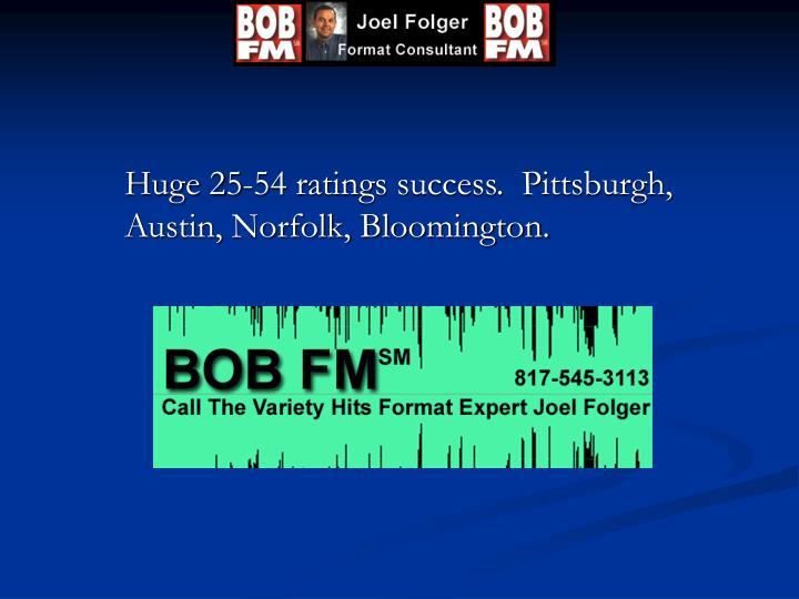 Huge 25-54 ratings success.  Pittsburgh, Austin, Norfolk, Bloomington.