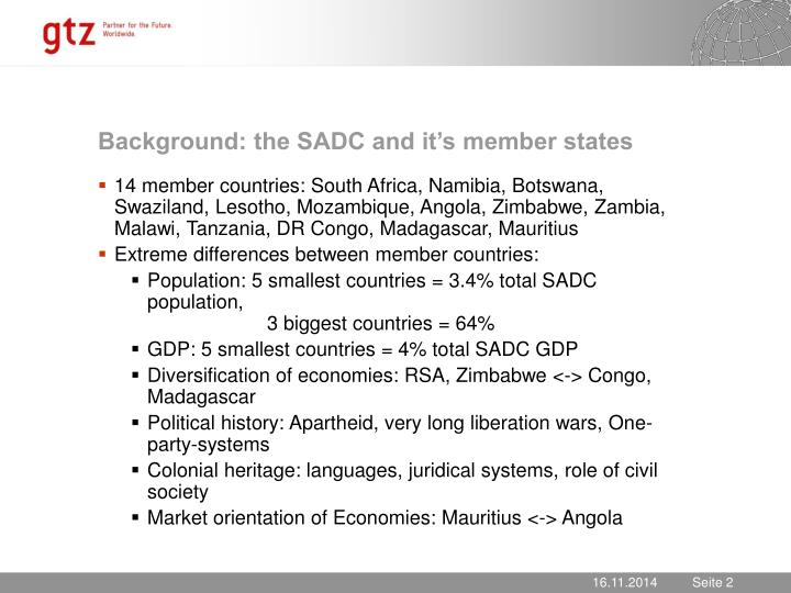 Background: the SADC and it's member states