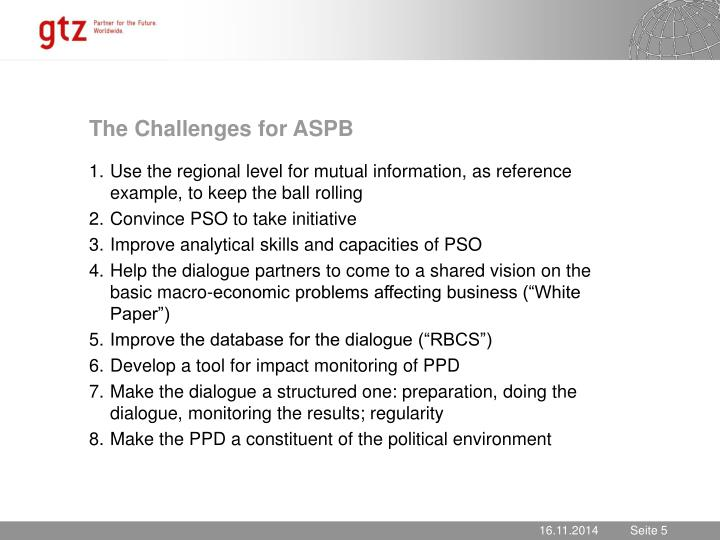 The Challenges for ASPB