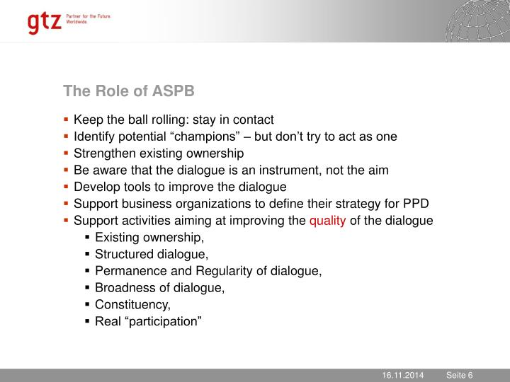 The Role of ASPB