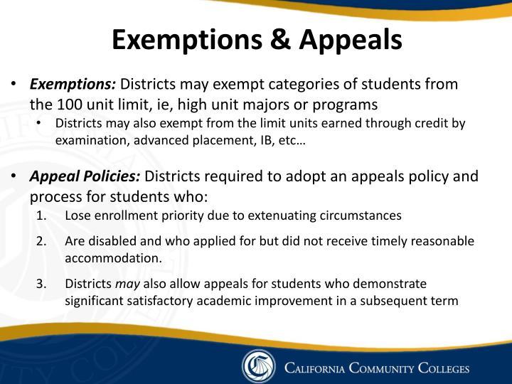 Exemptions & Appeals